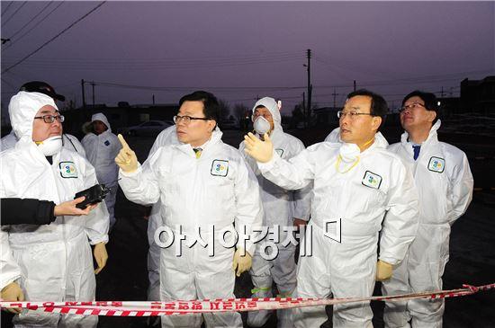 [포토]고창 AI 현장 방문한 이동필 농식품부 장관