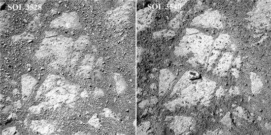 화성에서 새로 발견된 바위?…화성탐사로봇 로버가 포착