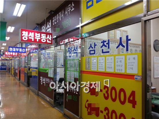 재건축 시장도 예전만큼 거래가 활발하지 않다보니 문을 닫는 공인중개소들도 나타나고 있다. 사진은 서울 강동구 둔촌동 둔촌주공아파트 단지내 상가에 있는 공인중개소들 모습이다.