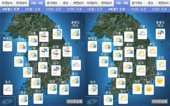 20일 오전, 오후 날씨(출처:기상청)