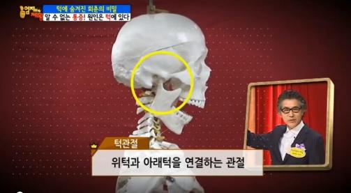 ▲턱관절 위치.(출처: MBN '엄지의 제왕' 방송 캡처)
