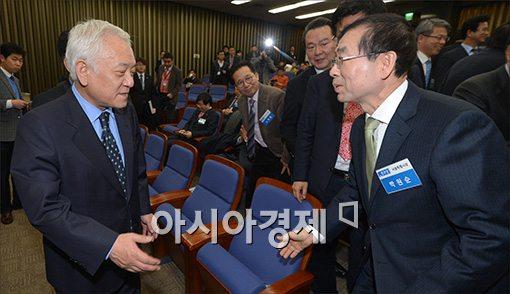 [포토]국회에서 만난 김한길·박원순