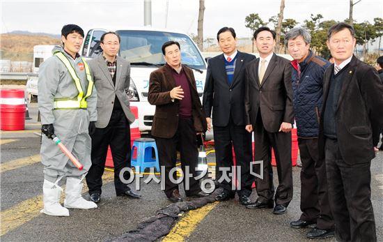 함평군의회 의원들, AI 방역초소 방문 격려