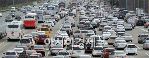 [포토]귀향 차량들로 붐비는 경부고속도로 톨게이트
