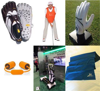 2014 PGA머천다이즈쇼에 소개된 아이디어 제품들. 발가락 골프화, 골프셔츠, 땀에 강한 장갑, 냉각타월, 골프보드, 사운드척(왼쪽 위부터 시계방향으로).