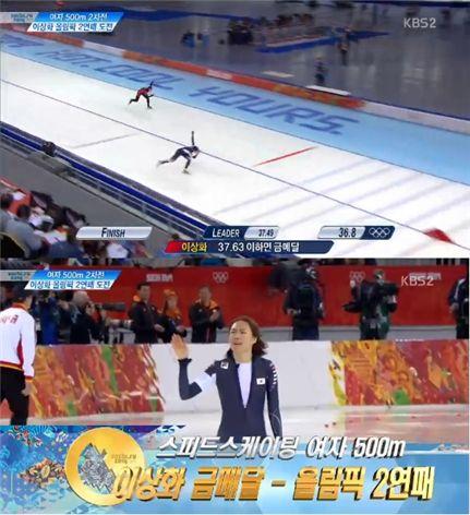 ▲이상화 금메달.(출처: KBS 소치 올림픽 중계영상 캡처)