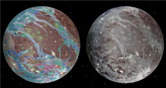 ▲가니메데 지질지도.[사진=USGS Astrogeology Science Ctr/Wheaton/ASU/NASA/JPL-Caltech]