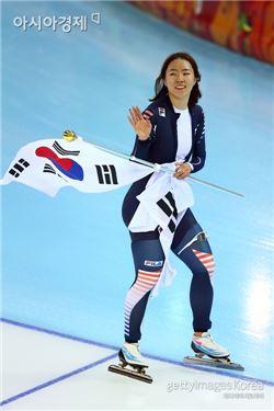소치 동계올림픽 스피드스케이팅 500m에서 금메달을 딴 이상화 선수.