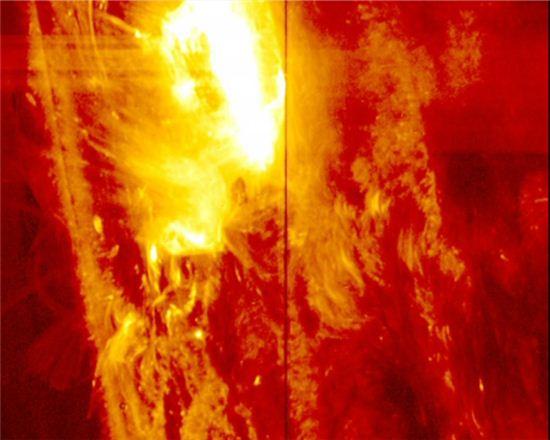 ▲지난 1월28일 관측된 강력한 태양 플레어.[사진제공=NASA/IRIS]
