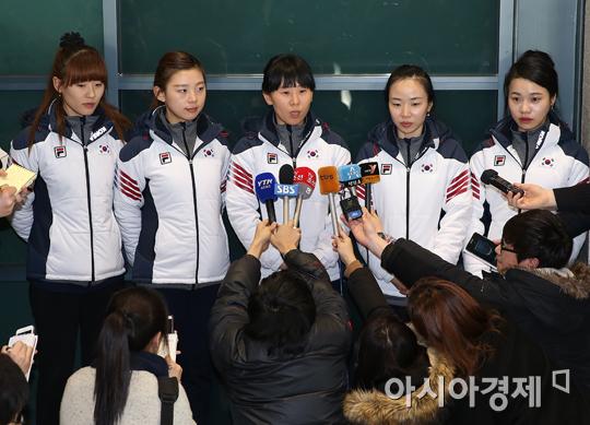 [포토] 여자 컬링 대표팀 귀국 인터뷰
