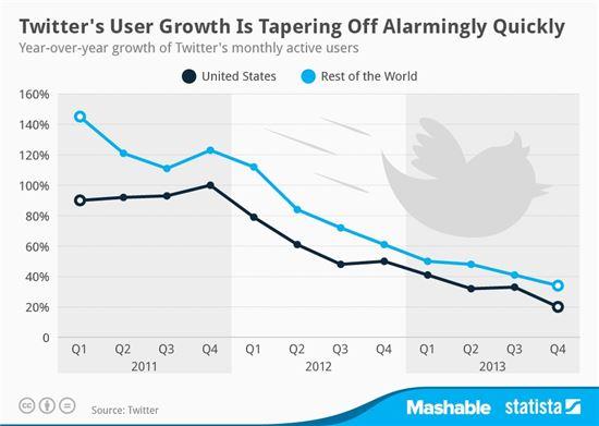 트위터 연간 성장율