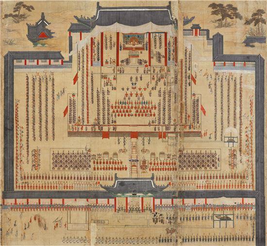 기축진찬도(己丑進饌圖), 1829년경, 비단에 채색, 149.0×413.0cm, 국립중앙박물관소장