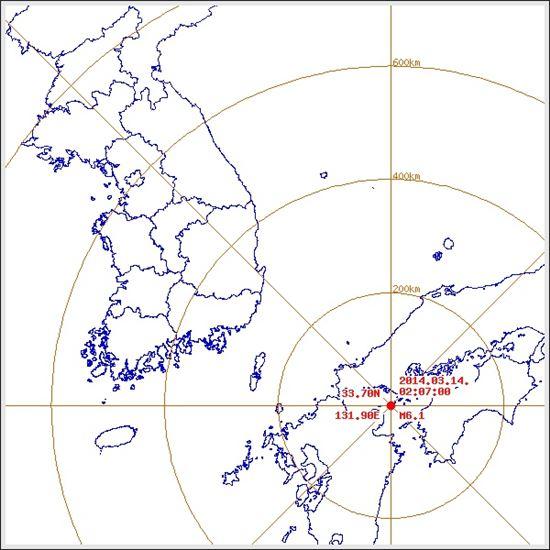 ▲ 일본 남서부에서 규모 6.1의 지진이 발생했다. (출처: 기상청)