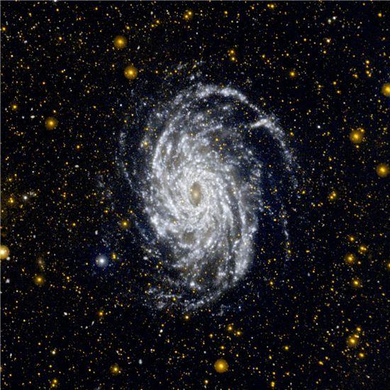 ▲나사의 갤렉스(Galaxy Evolution Explorer)가 촬영한 NGC 6744. 우리 은하와 가장 비슷하게 생겼다.[사진제공=NASA/JPL-Caltech]