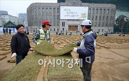 [포토]서울광장 잔디 깔기