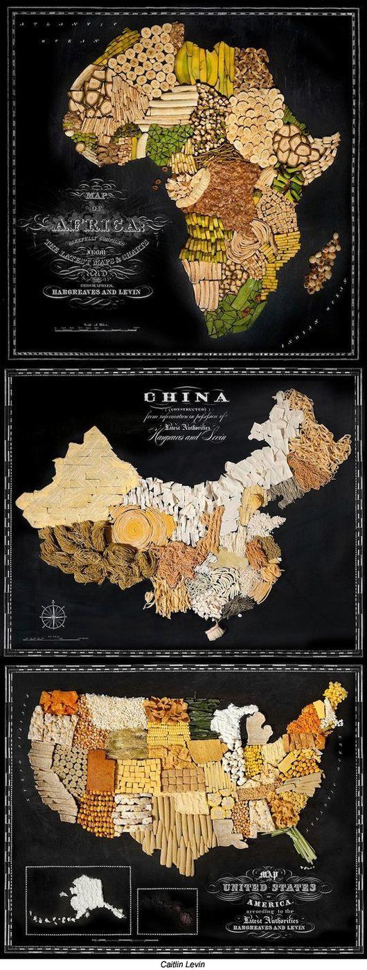 ▲음식으로 만든 세계 지도.(출처: 해외 온라인 커뮤니티)