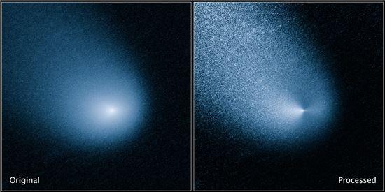 ▲지구와 달의 반정도에 불과한 거리로 화성 주변을 지나고 있는 혜성.[사진제공=NASA, ESA, and J.-Y. Li]