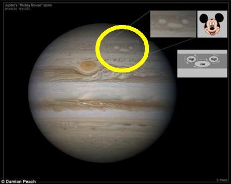 ▲목성 트리플 폭풍 사진이 미키마우스 처럼 생겨 화제다.(출처:온라인커뮤니티)