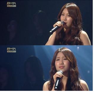 ▲배우 박수진이 부른 라일락이 질때가 이선희의 호평을 받았다.(출처:KBS2방송캡처)