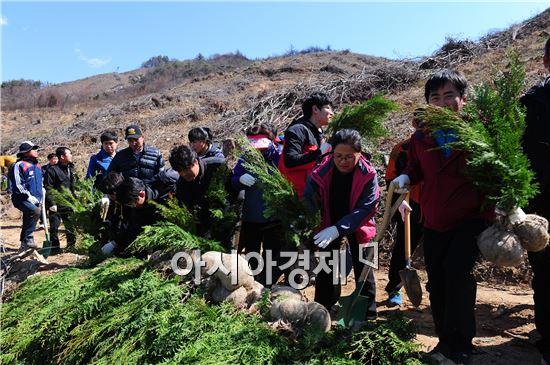고창군은 4일 제69회 식목일 나무심기 행사를 상하면 검산리 일원에서 개최했다. 주민들이 편백나무를  심기위해 나무를 가지고 가고있다.