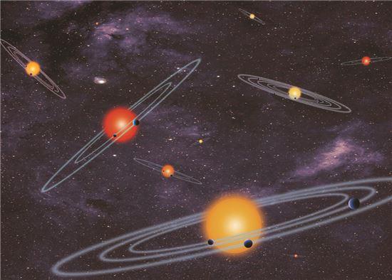 ▲케플러 우주망원경의 자료를 토대로 구성한 '다항성 다행성' 개념도.[사진제공=NASA]
