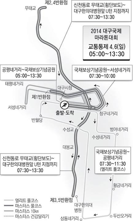 ▲대구마라톤 교통통제.(출처: 대구지방경찰청 공식 페이스북)