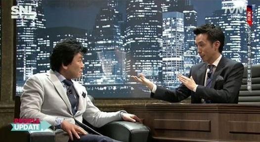 ▲'SNL코리아'에서 주병진이 신동엽과 유재석을 최고의 MC로 꼽았다. (사진: tvN 'SNL코리아' 방송 캡처)