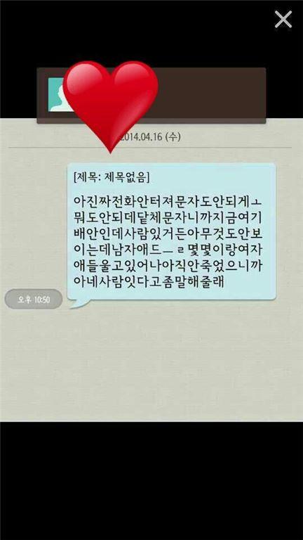 ▲진도 여객선 침몰 생존자 문자메시지가 허위로 밝혀졌다.(사진:온라인커뮤니티)