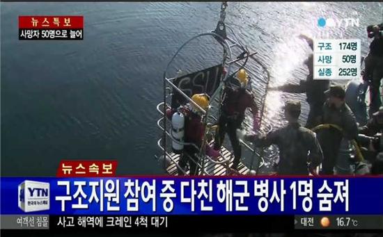 ▲대조영함 윤모 병장 숨져.(사진: YTN 뉴스 보도 캡처)
