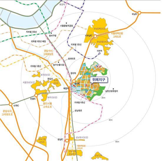 주거전용 단독주택용지 103필지를 공급할 계획인 위례신도시 위치도.
