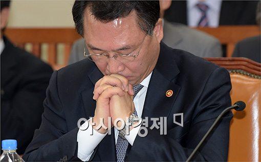 [포토]기도하는(?) 방하남 장관