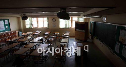 [포토]어두컴컴한 안산 단원고 2학년 교실