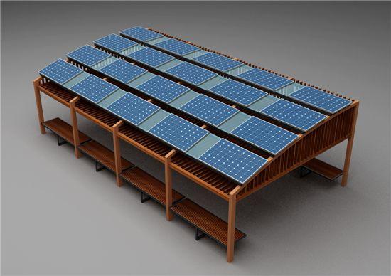 세종시 쉼터 지붕에 놓여질 대양광발전판 모습