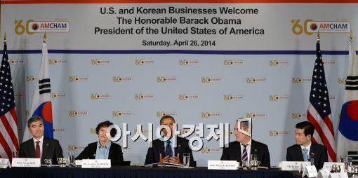 [포토]버락 오바마,'韓 기업 투자 많이 하면 돕겠다'