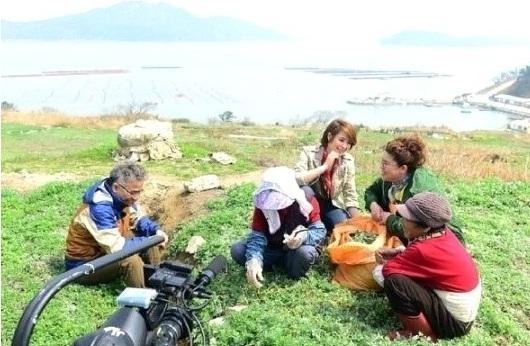 ▲ 김혜수, 이영자, 임지호가 봄 나물을 캐고 있다. (사진: SBS '잘 먹고 잘 사는 법-식사하셨어요?' 방송 캡처)