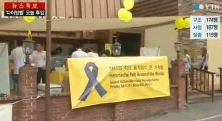 ▲노란리본달기 캠페인이 미국에서 펼쳐졌다.(사진:YTN 방송캡처)