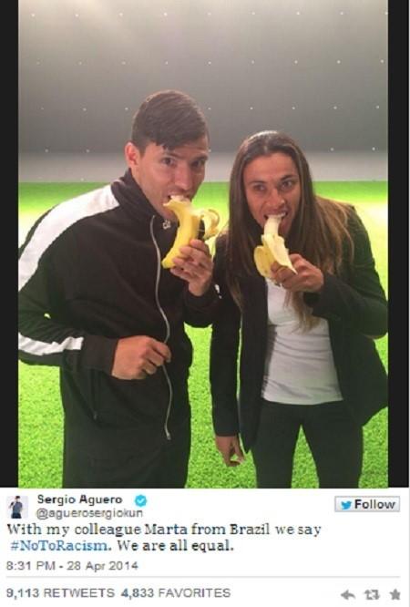▲세르히오 아게로 '바나나 인증샷'(사진: 세르히오 아게로 트위터)
