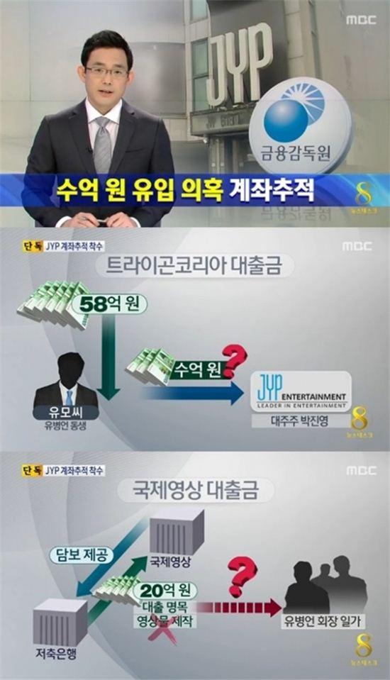 ▲금융감독원이 JYP엔터테인먼트와 국제영상에 대해 계좌추적에 들어갔다. (사진: MBC '뉴스데스크' 캡쳐)