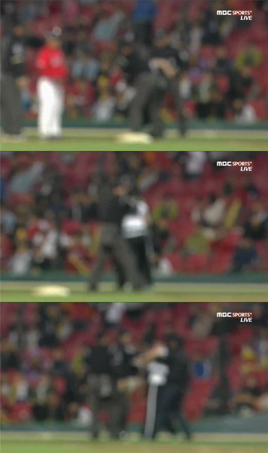 ▲박근영심판 폭행. (사진: MBC sports 캡처)