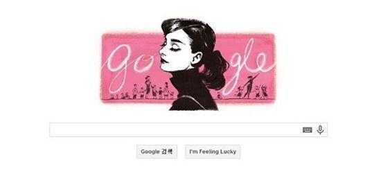 ▲오드리햅번 탄생 85주년 구글 기념 로고. (사진: 구글 홈페이지 캡처)