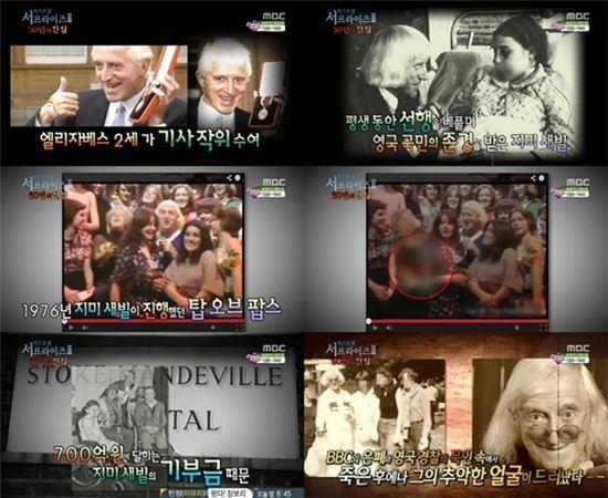 ▲국민MC 지미 새빌의 추악한 사생활 드러나. (출처: MBC 서프라이즈 방송화면 캡처)