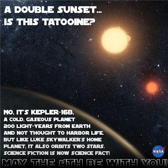 ▲두 개의 태양을 돌고 있는 스타워즈의 '타투인' 행성처럼 '케플러-16B'는 실제로 두 개의 태양을 돌고 있는 것으로 나타났다.[사진제공=NASA]
