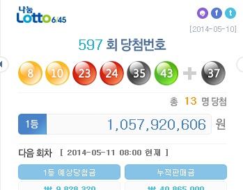 ▲제597회 로또 1등 당첨번호가 공개됐다.(사진:나눔로또 홈페이지)