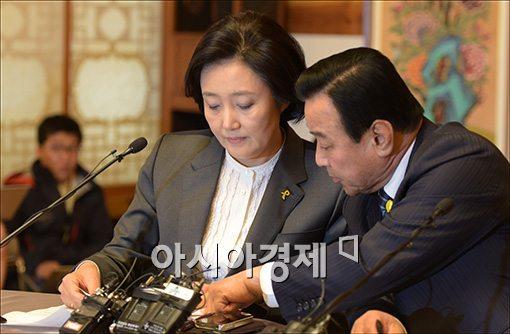 이완구 새누리당 원내대표(오른쪽)와 박영선 새정치민주연합 원내대표(왼쪽)