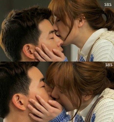 ▲엔젤아이즈 이상윤,구혜선 2단키스(사진:SBS 방송캡처)