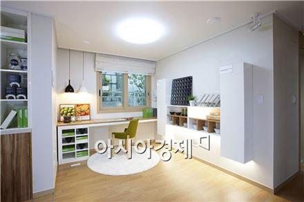 평택 청북 한양 수자인 견본주택에 마련된 가족실 모습