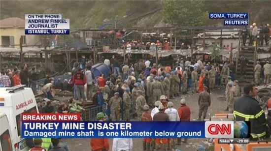 ▲터키 탄광사고 현장. 현재까지 사망자 수는 274명으로 집계됐다. (사진: CNN 보도화면 캡처)