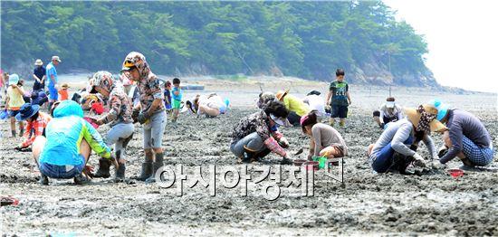 여수여자만갯벌노을축제에서 관광객들이 갯벌체험을 하고 있다.