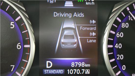 인피니티 Q50 2.2d 계기반에 나타난 전방 추돌 예측 경고 시스템 기능.