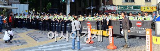 [포토]청계광장에 왠 경찰들이.....